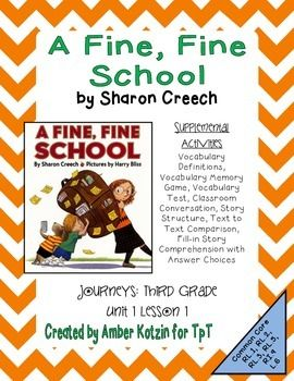 A Fine Fine School Mini Pack Activities 3rd Grade Journeys Unit 1
