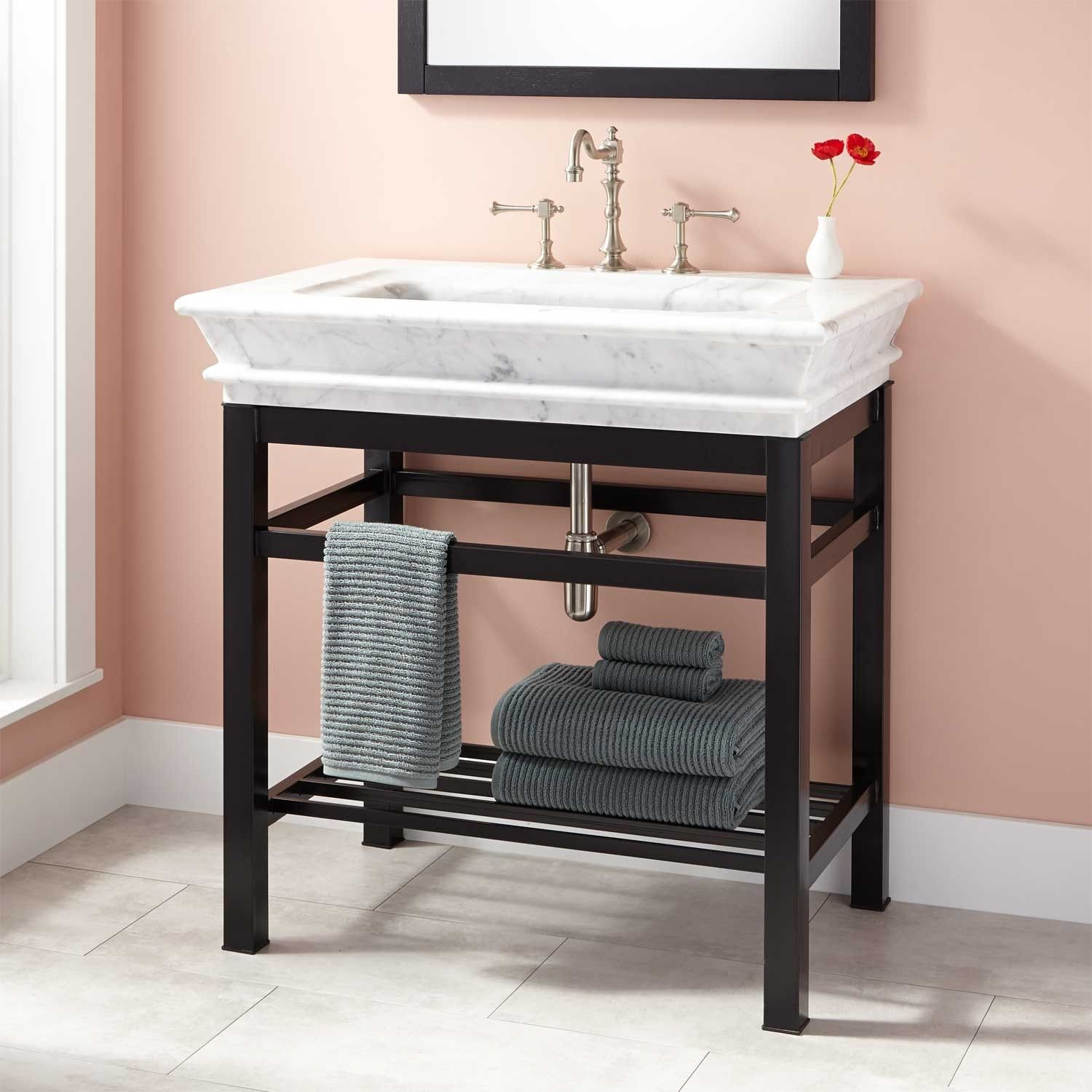 Modern Console Vanity With Carrara Marble Sink Top Bathroom