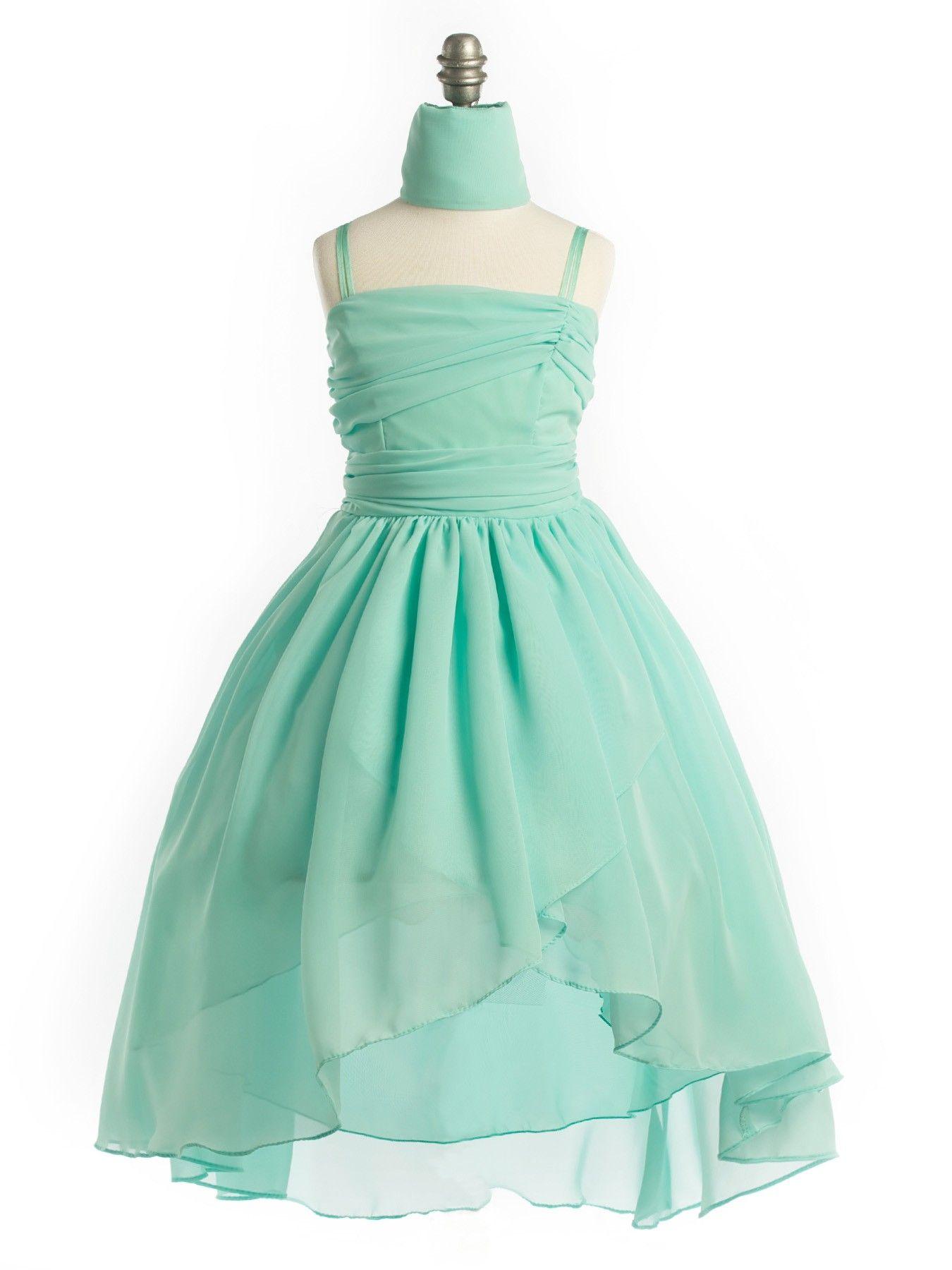Mint Chiffon Hi-Lo Wrap Flower Girl Dress in Girls Sizes 2-20 in 6 ...