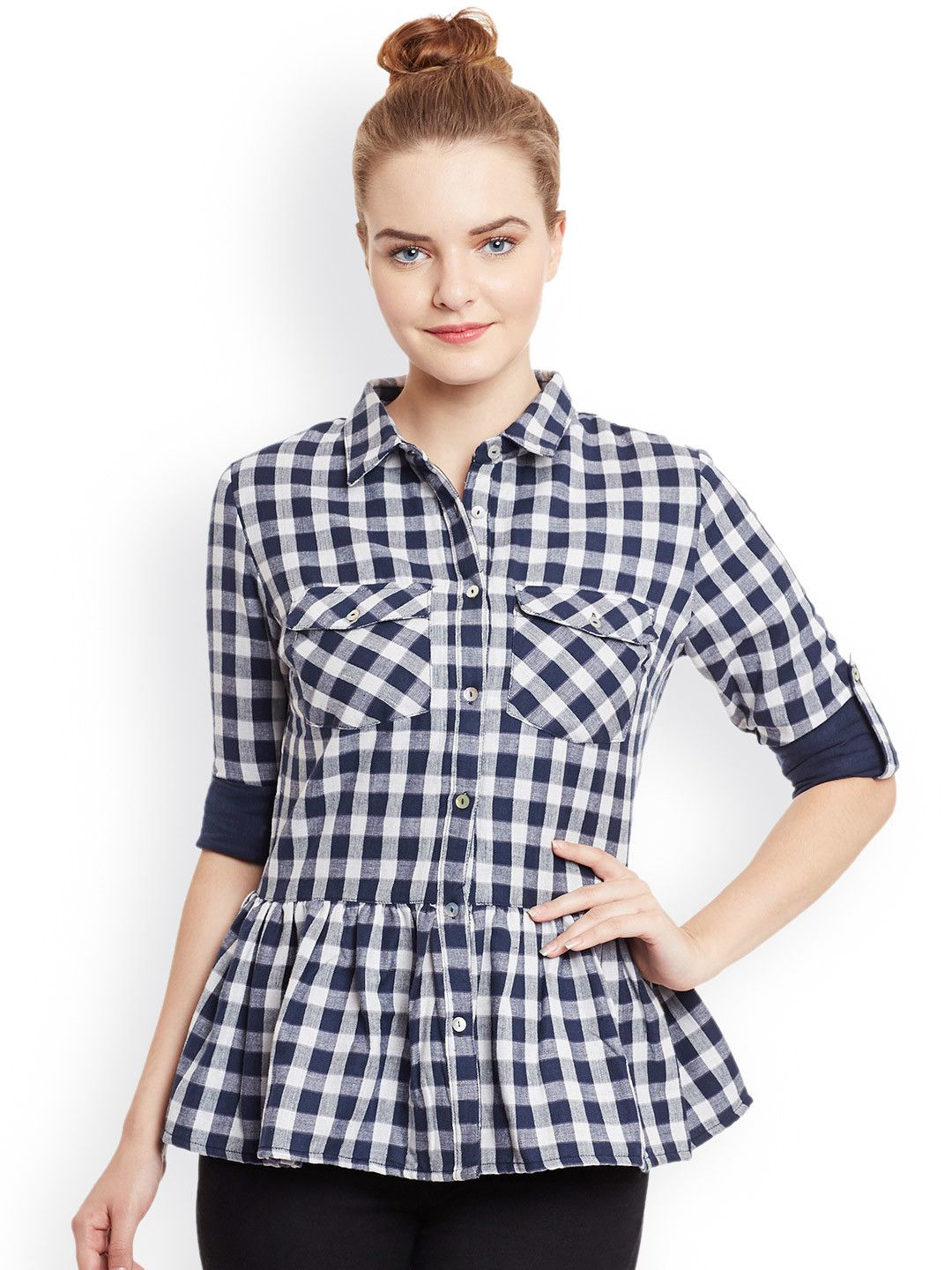 dc1c167502f5 Buy Nun Women White & Navy Slim Fit Checked Casual Shirt - Shirts for Women  | Myntra