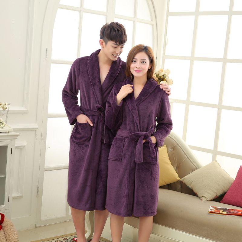 66bb6454067984 Barato Velo Coral Luxo Homens Longo Kimono Robe Amantes Flanela ...