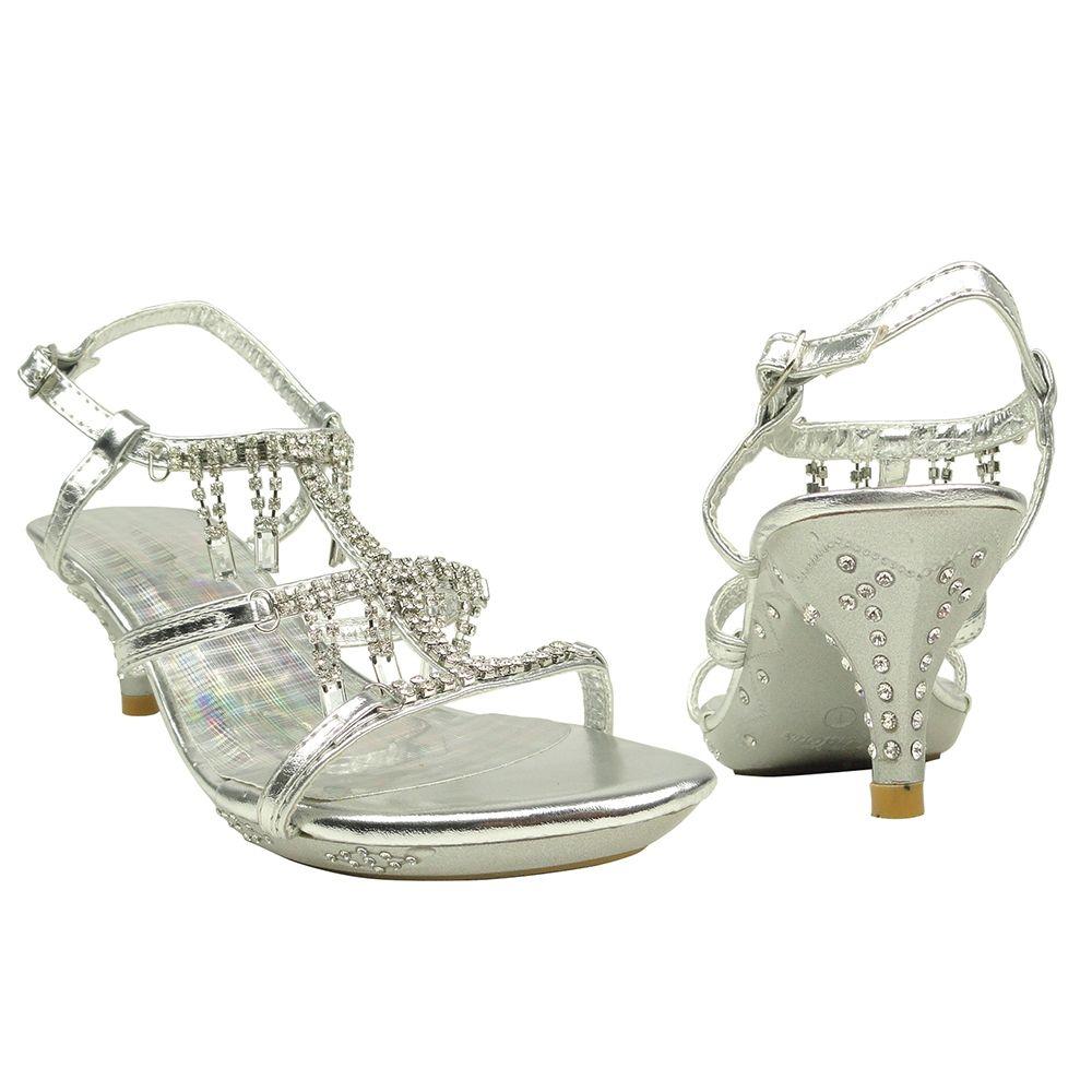 Kids Dress Sandals Asymmetrical Rhinestones Heart High Heel Flower ...
