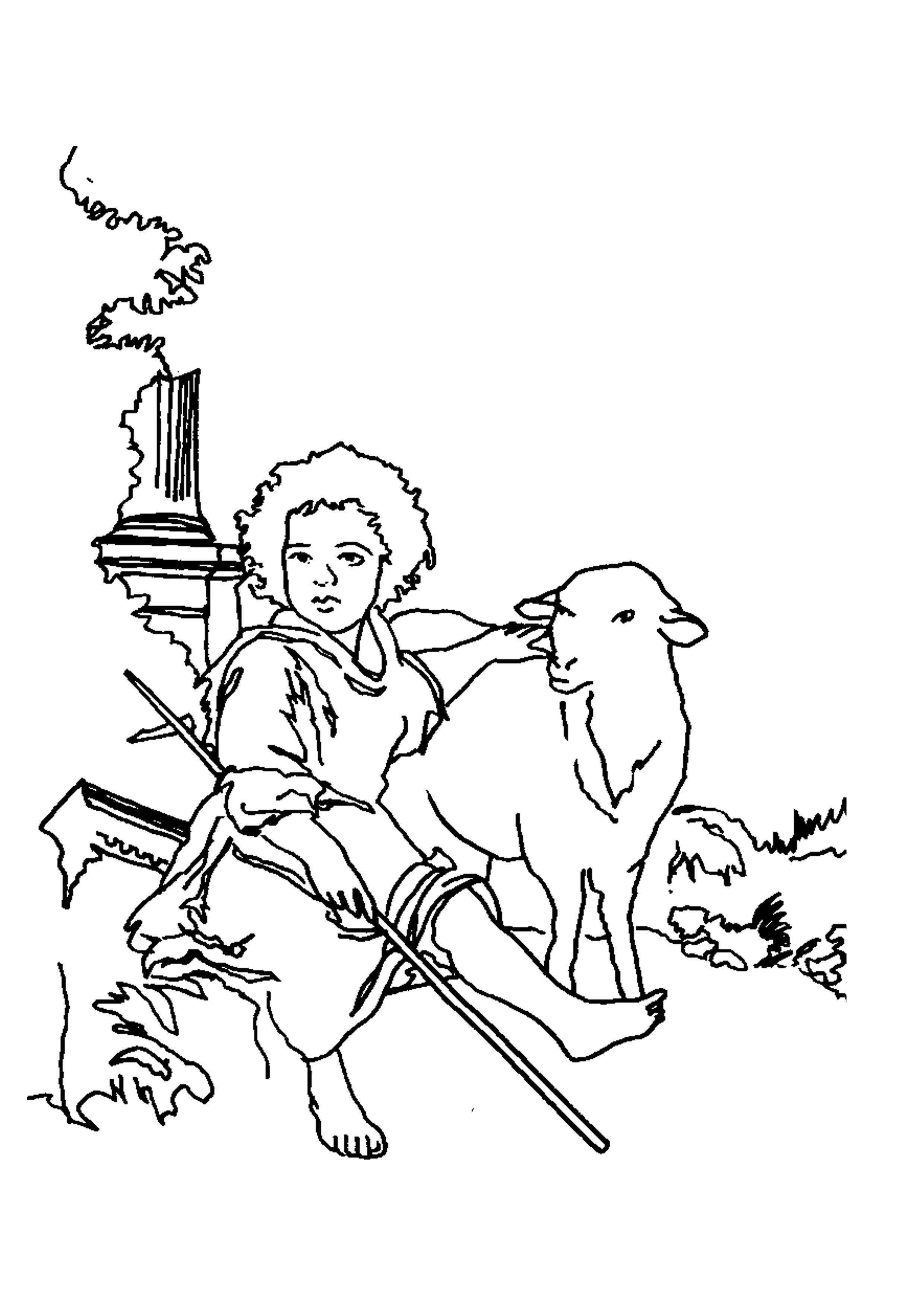 El buen pastor Murillo   Para colorear e ilustrar   Pintor