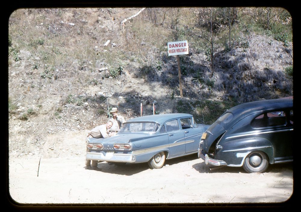 Original 35mm Kodak Slide 1958 Two vintage cars parked by Danger ...