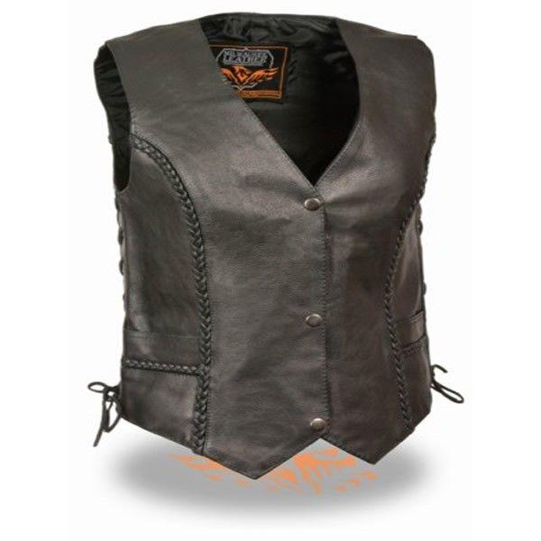 Black, Large Milwaukee Mens Deep Pocket Leather Vest