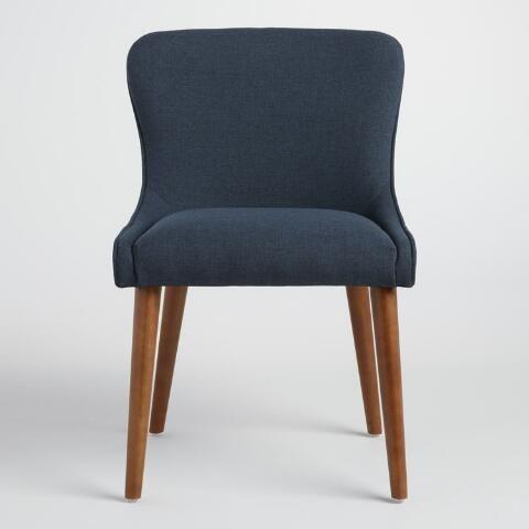 Navy Zarah Petite Wingback Upholstered Chairs Set Of 2   World Market