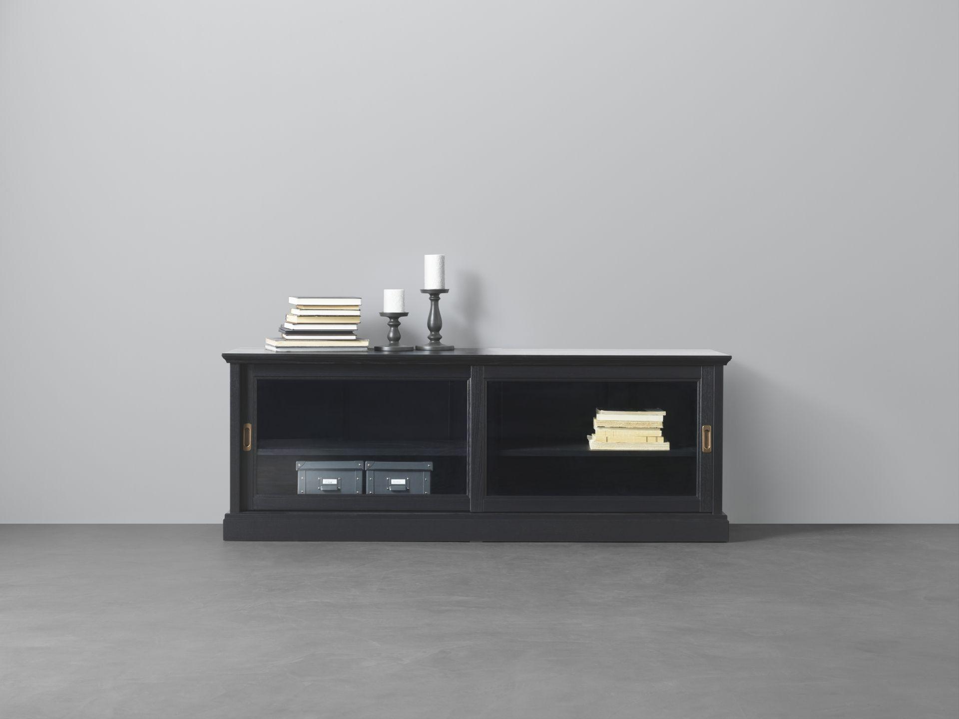 MalsjÖ tv meubel met schuifdeuren zwartgebeitst office