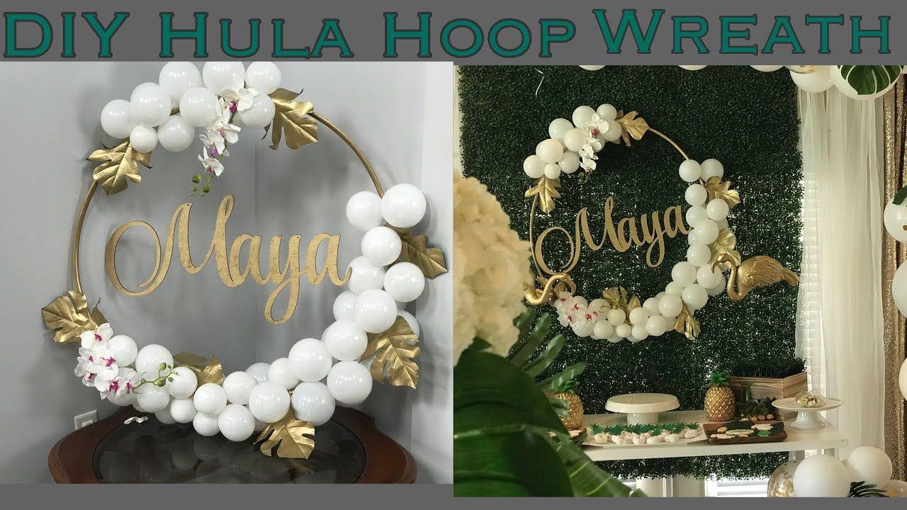 DIY balloon hula hoop wreath Tutorial YouTube | Balloon wreath
