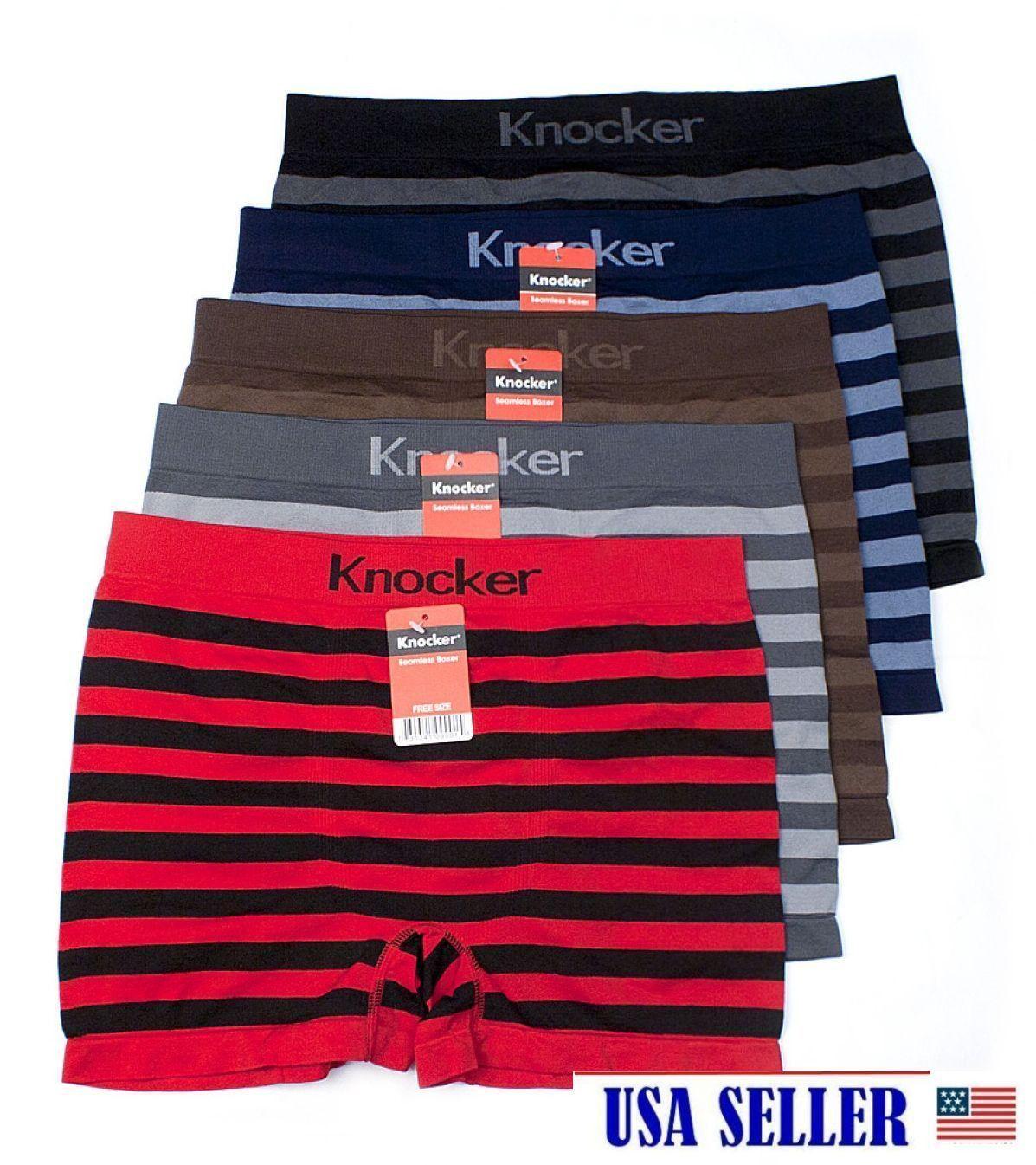 6 Men Seamless Boxer Briefs Microfiber STRIPED Compression Underwear LARGE