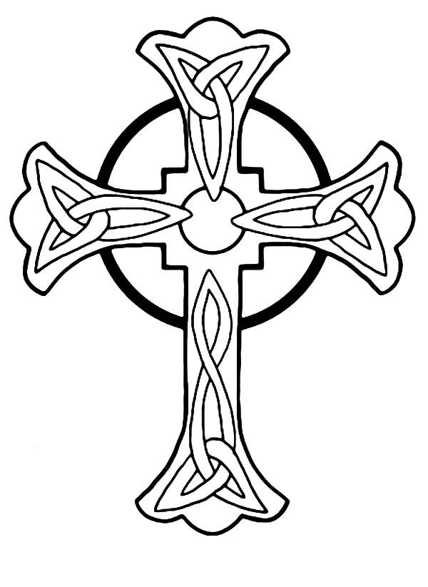Rose Decorated Celtic Cross Coloring Pages Best Place to
