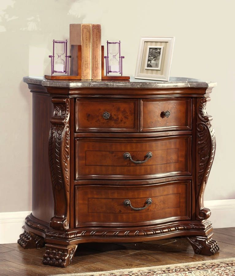 Luxor Traditional Cherry Marble Top Hand Carved Designs Night Stand