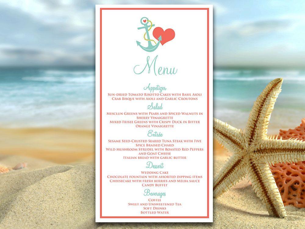 "Beach Wedding Menu Card Template - Wedding Reception Menu ""Anchor Love"" Coral Lagoon - Nautical Wedding Menu - DIY Template by PaintTheDayDesigns on Etsy"