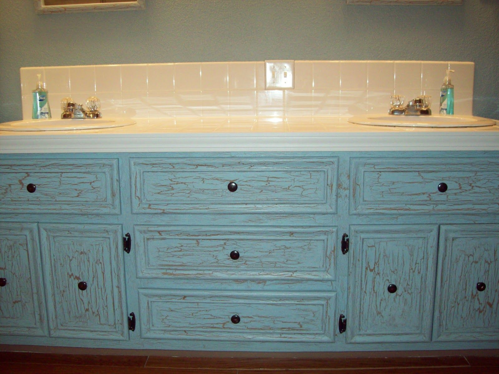 Crackle paint with elmer 39 s glue teaching little miracles - How do you paint bathroom cabinets ...