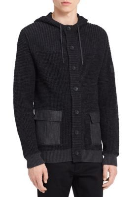 b6628024a7c8 Calvin Klein Jeans Men s Cotton Plaited Texture And Mixed Media Hoodie -  Soot Heather Combo - 2Xl