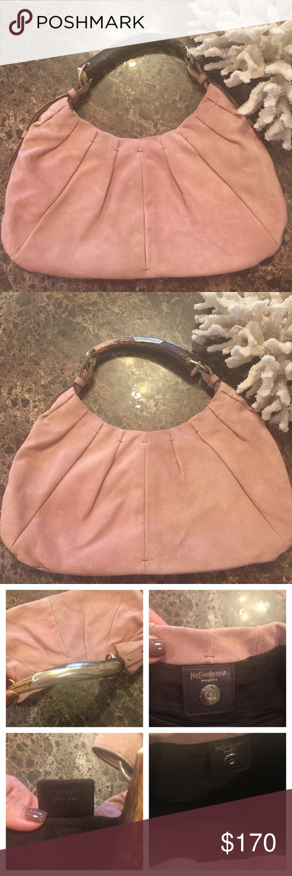 Yves Saint Laurent Mombasa Horn Handbag Beautiful Handbag!!! It is 100% authentic!! The color a pink suede is very trendy! It has been gently worn. Please look at all pictures carefully for signs of wear. Overall in a very good Condition!!! Measurements coming Soon!! Yves Saint Laurent Bags
