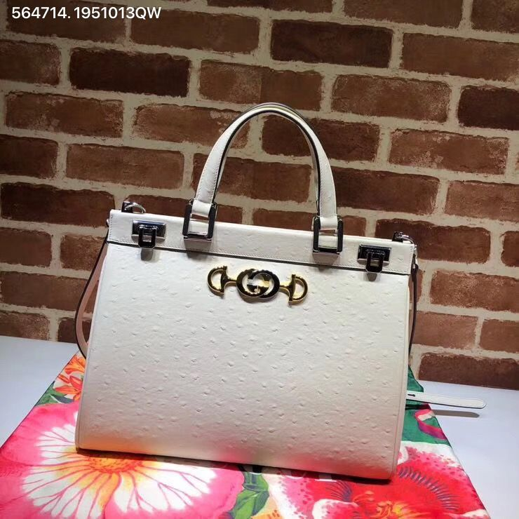 e16bda8e1 Gucci zumi top handle shoulder bag ostrich white | Gucci bags in ...