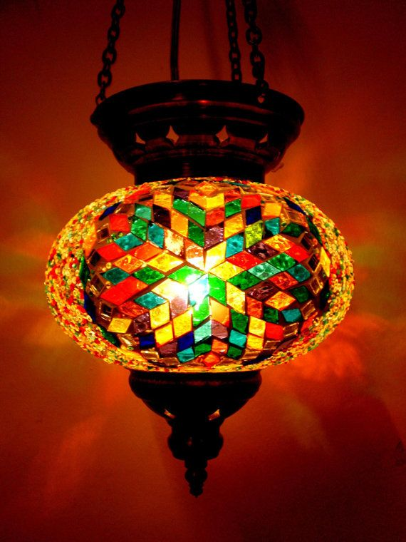 Turkish Moroccan Hanging Glass Mosaic Lamp by ...