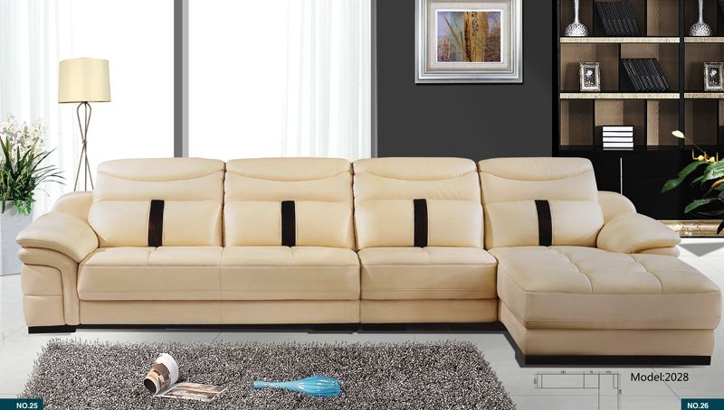 Home Sofa, Latest Modern Design Leather Sectional Sofa L Shaped Corner Sofa  Set With Confortable