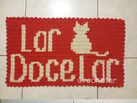 Tapete Lar Doce Lar Gato Fio Conduzido Tapestry Croche