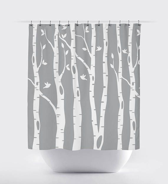 Birch Tree Shower Curtain With Birds Grey White Or Any Colors