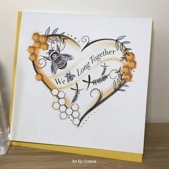 bee greeting card we belong together valentines day card