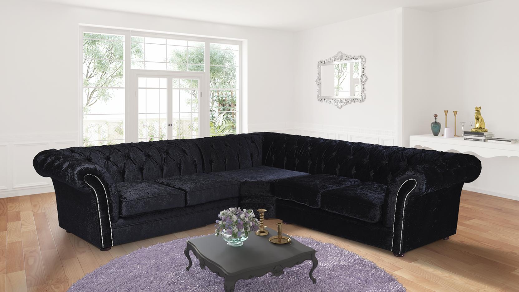 Nelson Chesterfield Corner 2C2 Crushed Velvet Sofa   Black