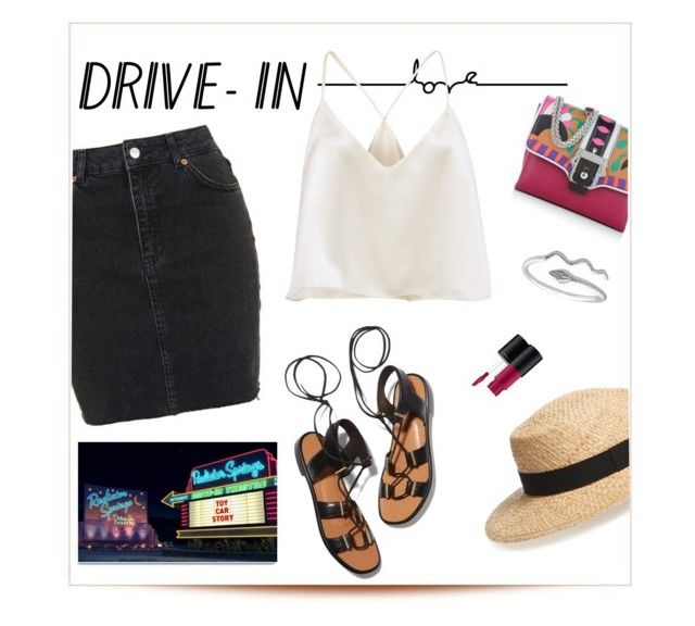 """""""Take Me to the Drive-In!"""" by designmine ❤ liked on Polyvore featuring Topshop, BP., Rosetta Getty, Paula Cademartori, MAC Cosmetics and White Label"""