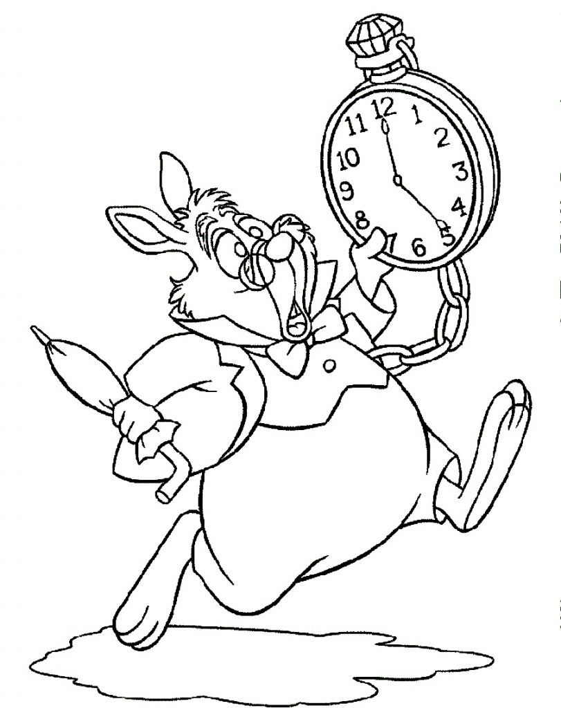 Alice In Wonderland Color Pages Late Rabbit