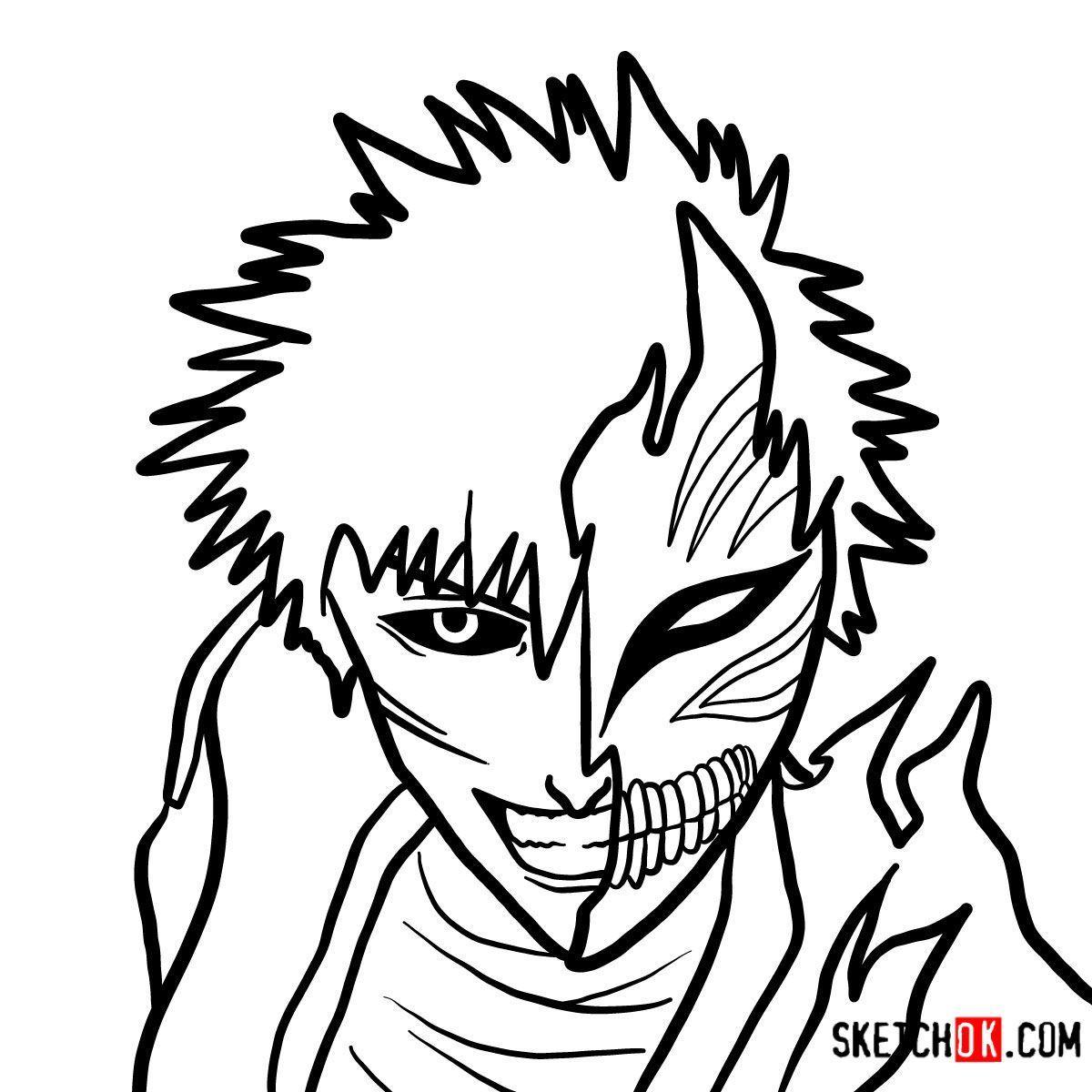 How To Draw Ichigo Kurosaki In A Mask Bleach Drawings Draw Guided Drawing [ 1200 x 1200 Pixel ]