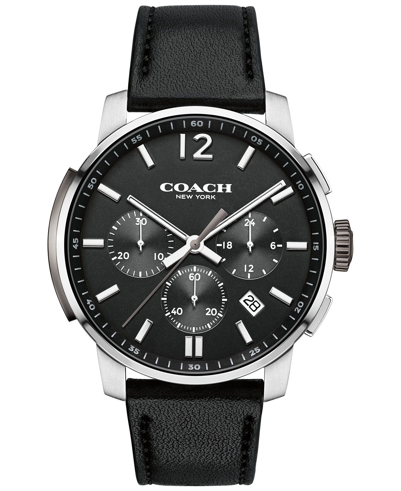 coach men s chronograph bleecker black leather strap watch 42mm coach men s chronograph bleecker black leather strap watch 42mm 14602014 only at macy s men s