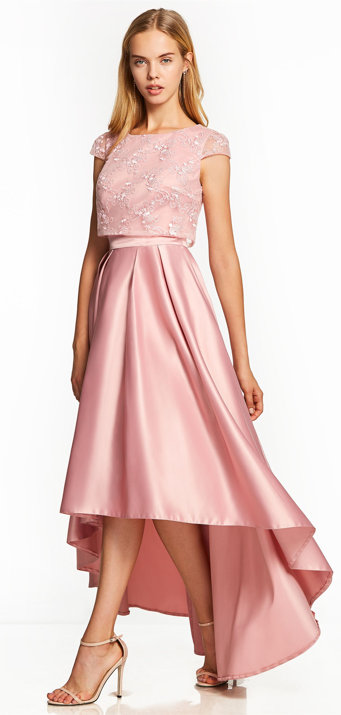 Scoop Neck Cap Sleeves Asymmetry Prom Dress