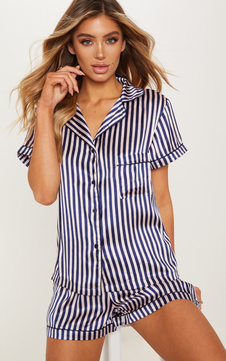08acc78df Nude & Navy Striped Button Up Short Pyjama Set in 2019   Products ...