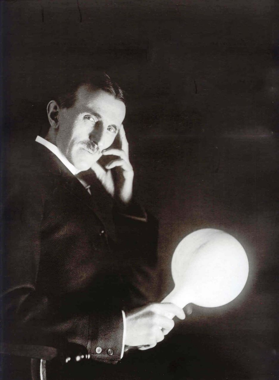 Nikola Tesla With His Light Bulb Nikola Tesla Tesla Nicolas Tesla