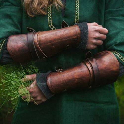 Medieval Adjustable Leather Gloves Outdoor Arm Pu Leather Gloves Cosplay Bracers