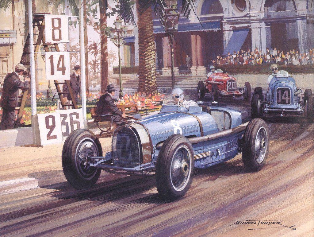 GP MONACO 1934 , Alfa Romeo P3 #20 of Guy Moll follows Maserati 8CM #14 of Philipe Etancelin and Bugatti T59 #8 of Renee Dreyfuss