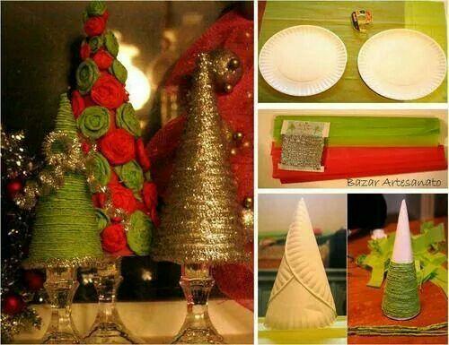 Kerst decoratie zelf maken met papieren bordjes en touw do it diy christmas tree decorations solutioingenieria Images