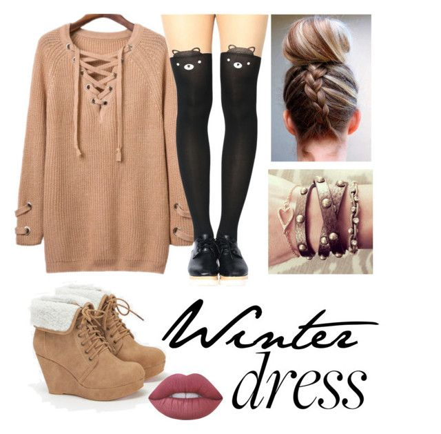 """winter dress"" by samantha-bluford on Polyvore featuring JustFab, Lime Crime and WithChic"