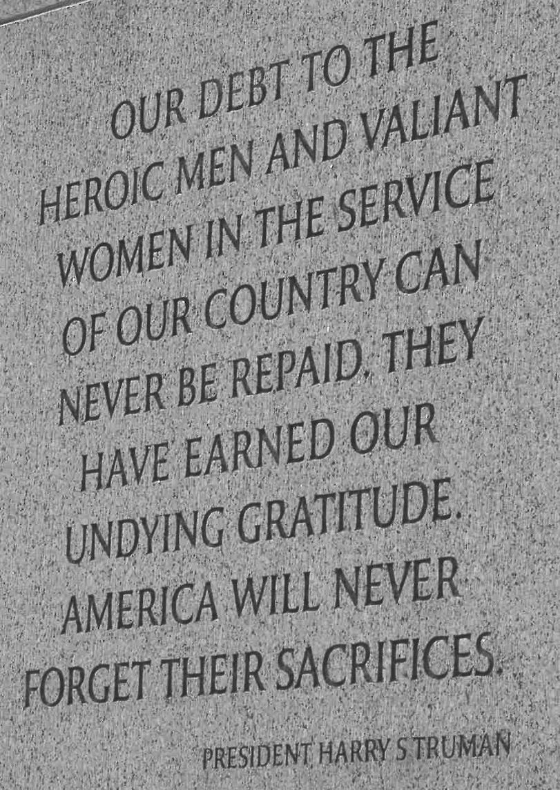 Memorial Day Quotes Harry Struman Quote On The World War Ii War Memorial  Via Usa