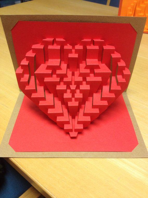 "diy template  ""heart o' my heart"" valentine card kirigami"