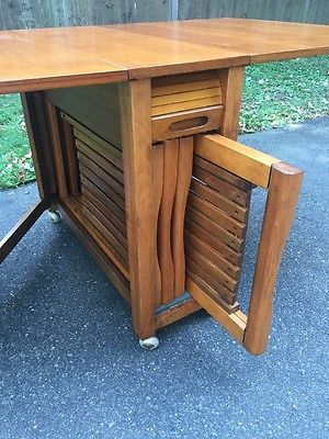 Danish Mid Century Modern Collapsible Game Drop Leaf Table Dining