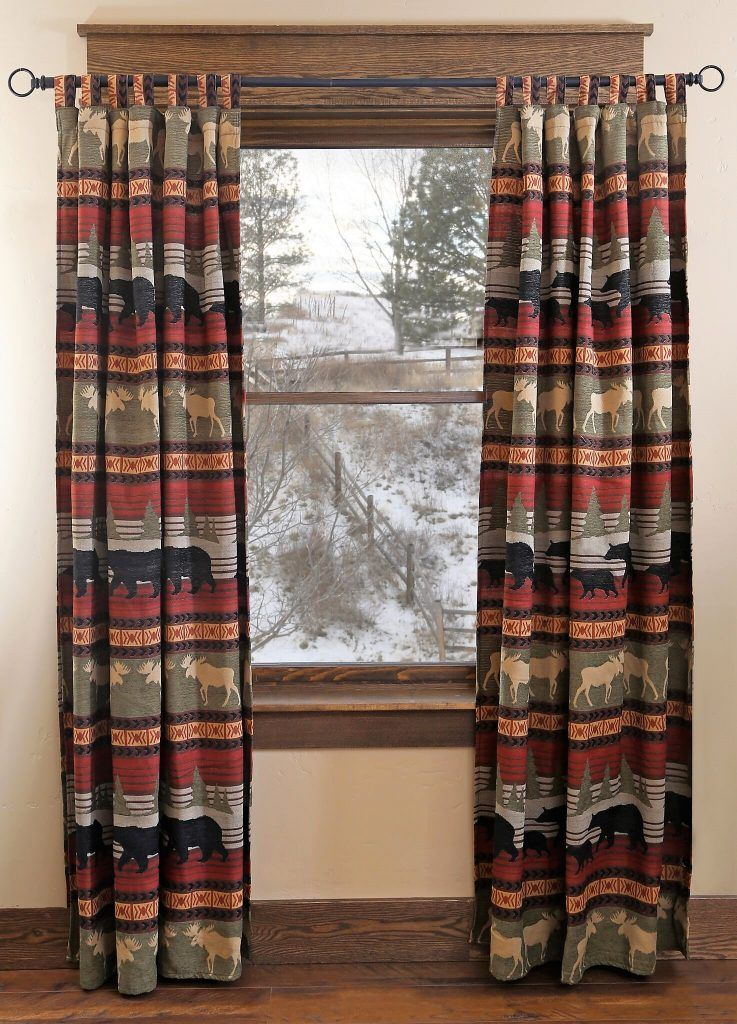 Moose Amp Bear Cabin Curtain Panels Cool Home Accents