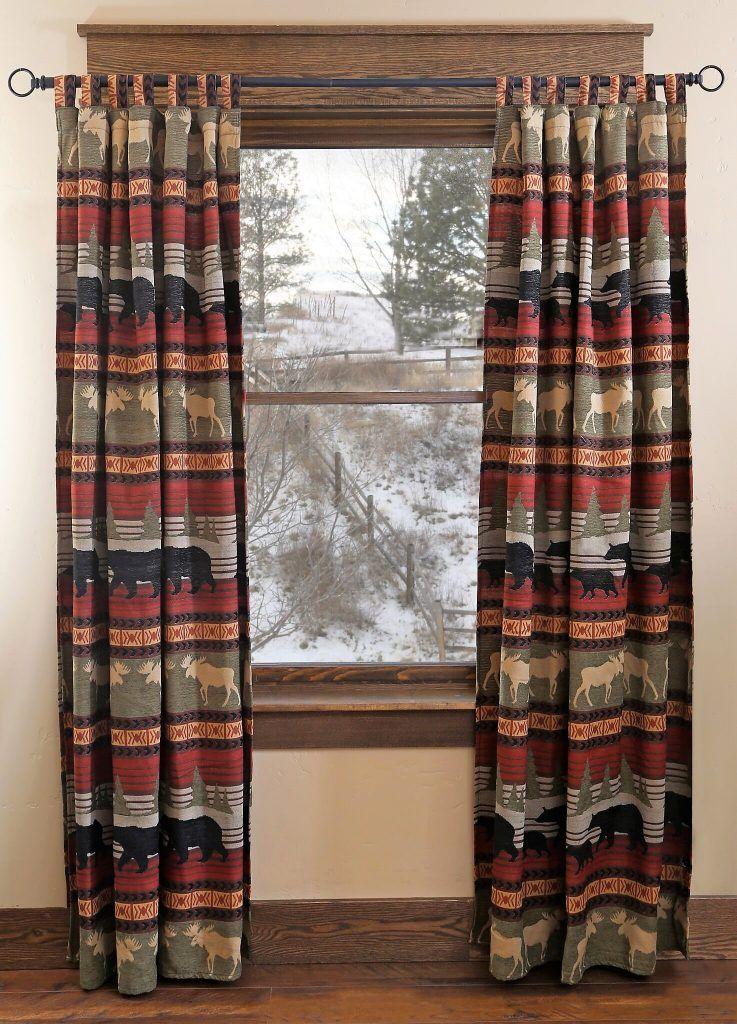 Moose Amp Bear Cabin Curtain Panels Cool Home Accents Cabin Curtains Panel Curtains Rustic