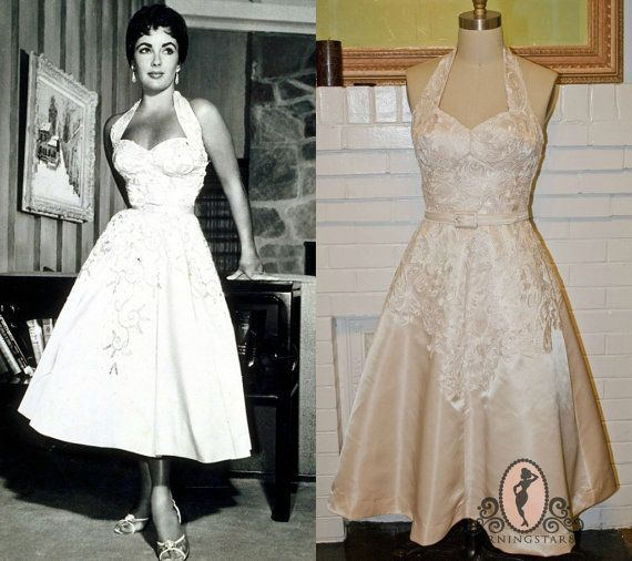 Merveilleux Pinup Bride Elizabeth Taylor Short Wedding Dress  Halter Sweetheart  Neckline Lace SAMPLE
