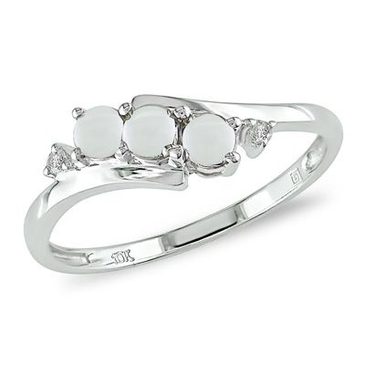 Opal Three Stone Slant Ring In White Gold With Diamond Accents View All Rings Zales