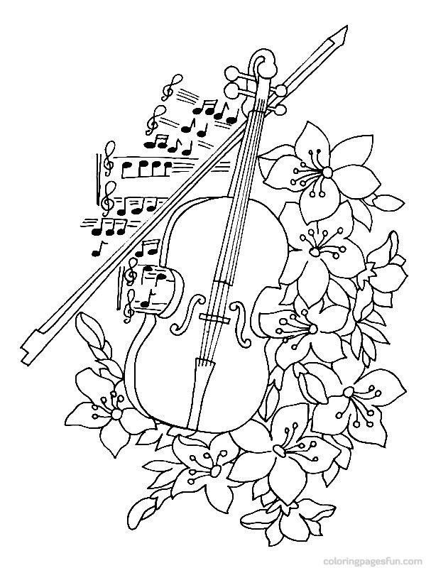 kid playing band instruments coloring pages | Musical Instruments Coloring Pages 13 | Cool coloring ...