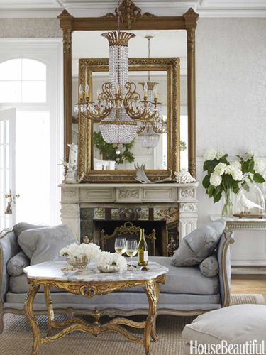 Parlor designer annie brahler photo bjorn wallander housebeautiful goldmirror also french style furniture and chandelier updates home decor rh pinterest