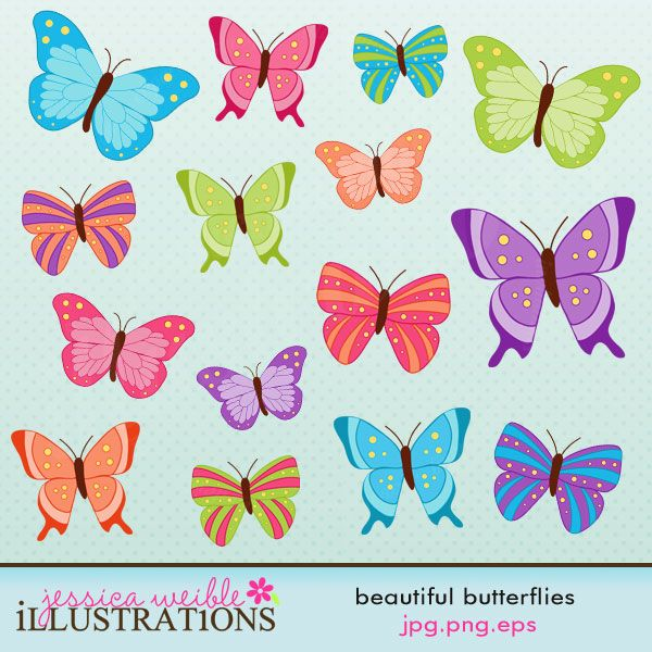 Beautiful Butterflies comes with 15 mulit-hued butterflies in three different styles.    Graphics are made in High Quality 300 dpi and come in JPG, PNG & EPS format
