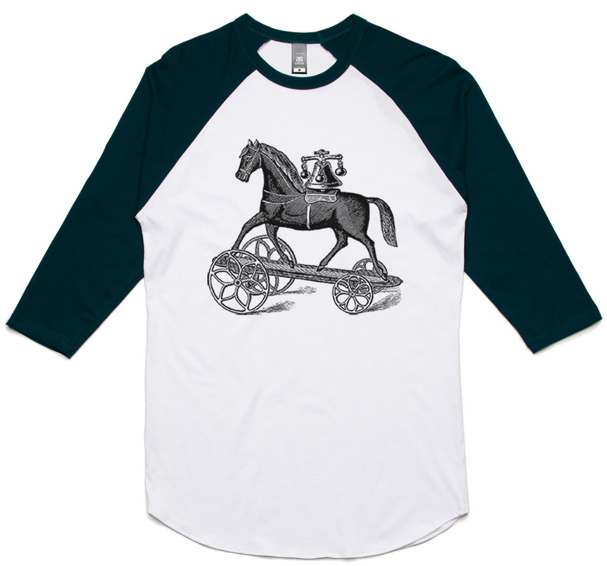 theIndie Antique Toy Horse (Black) 3/4-Sleeve Raglan Baseball T-Shirt