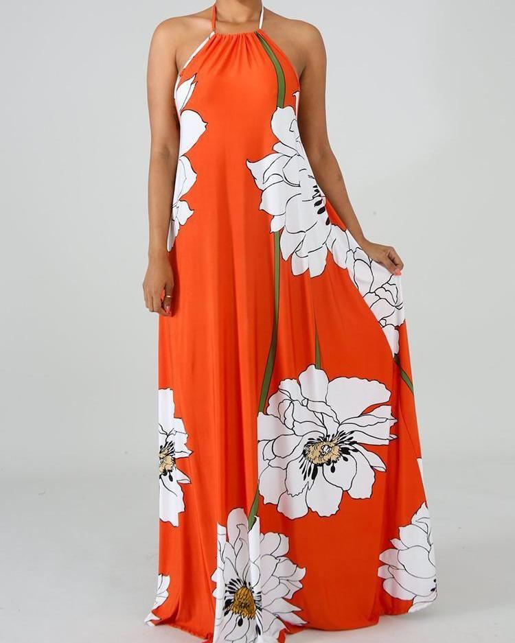 Floral Print Open Back Halter Maxi Dress Halter Maxi Dresses Maxi Dress Printed Maxi Dress
