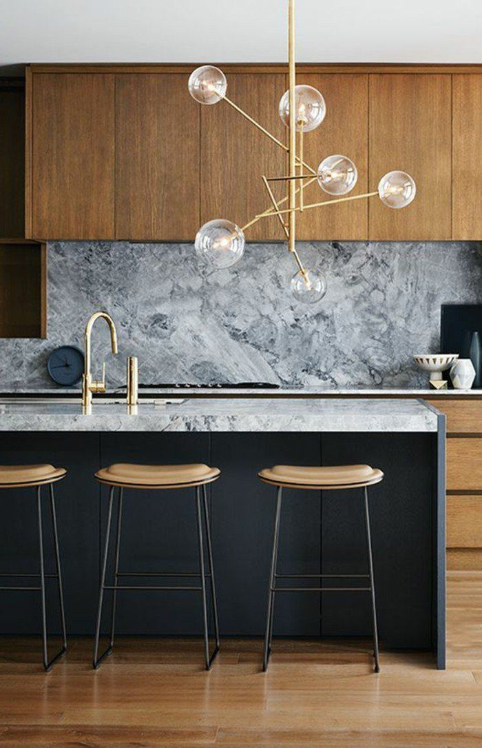 cuisine avec ilot central, lampe moderne, tabourets élégants ...